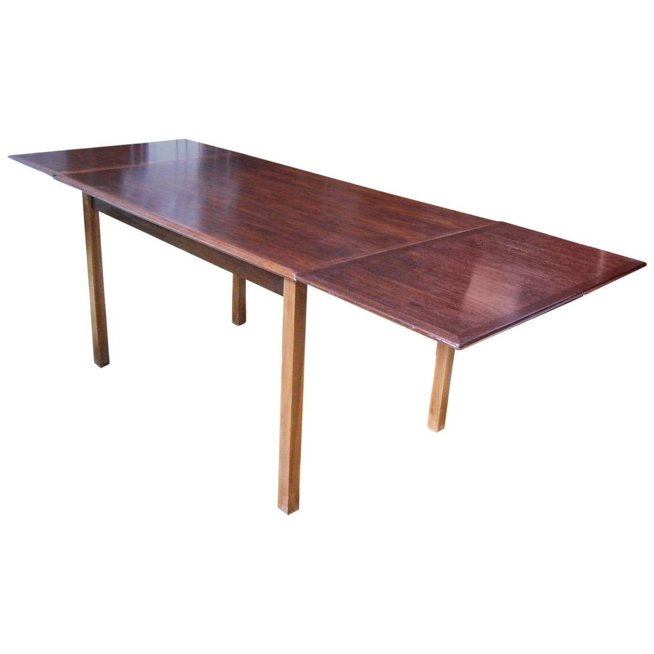 Mid century modern rosewood extendable dining table at 1stdibs for Mid century modern dining table