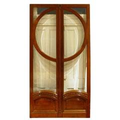 Pair Of Brass-mounted Oak Doors