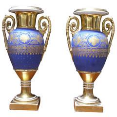 Pair of Paris Porcelain Gold and Matte-Blue Ground Vases
