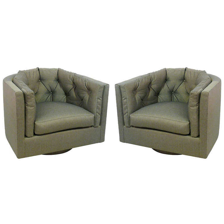 Pair of Tufted Barrel Back Swivel Chairs at 1stdibs