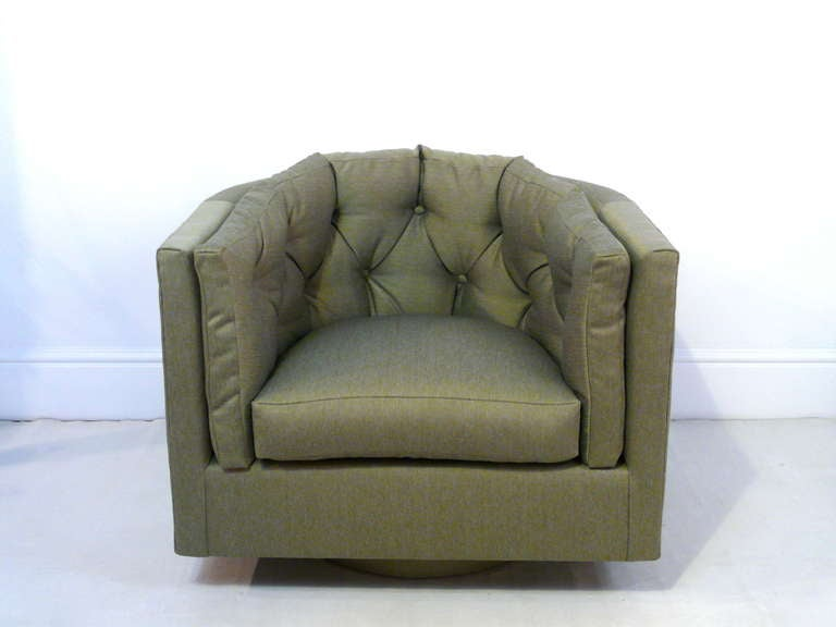 Pair of Milo Baughman style tufted back barrel chairs. Newly reupholstered in green twill, these are super comfortable.