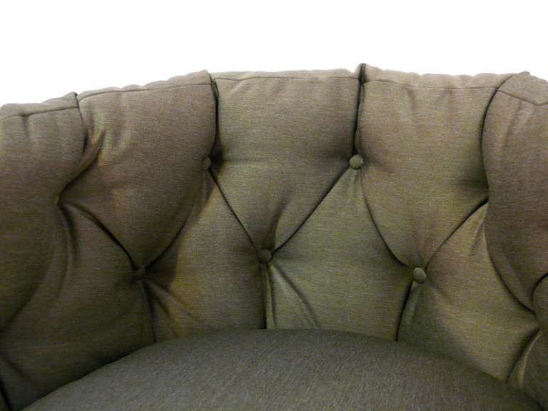 American Pair of Tufted Barrel Back Swivel Chairs For Sale
