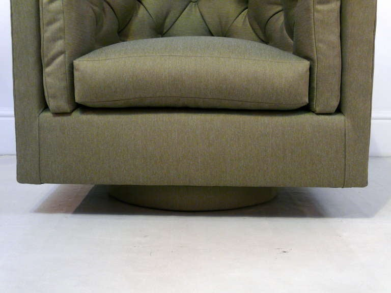 Upholstery Pair of Tufted Barrel Back Swivel Chairs For Sale