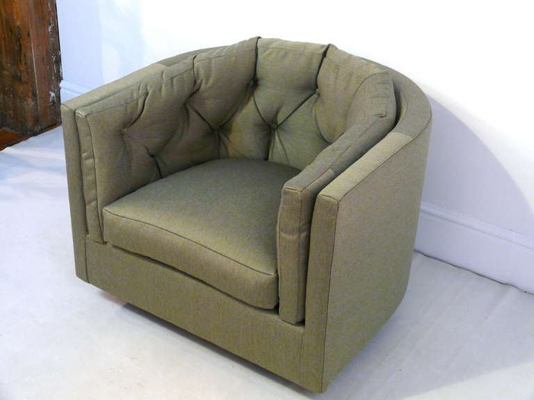 Pair of Tufted Barrel Back Swivel Chairs For Sale 3