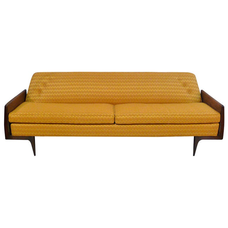 Danish Mid Century Sofa With Caned Sides At 1stdibs