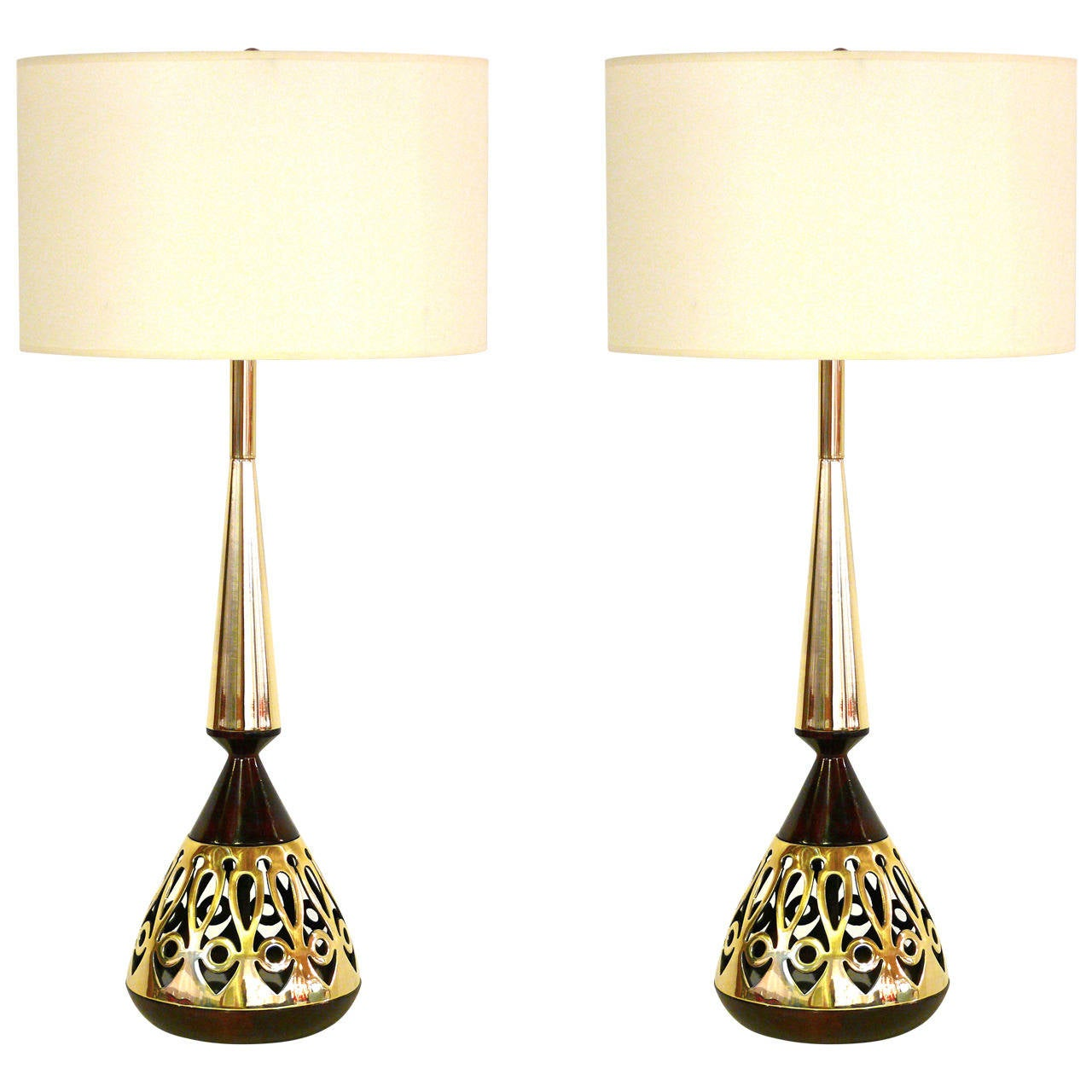 Pair of Tony Paul for Westwood Walnut and Brass Lamps 1