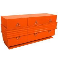 1940s Hermes Orange Lacquered Credenza