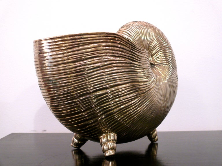 American Nautilus Shell Brass Vase For Sale