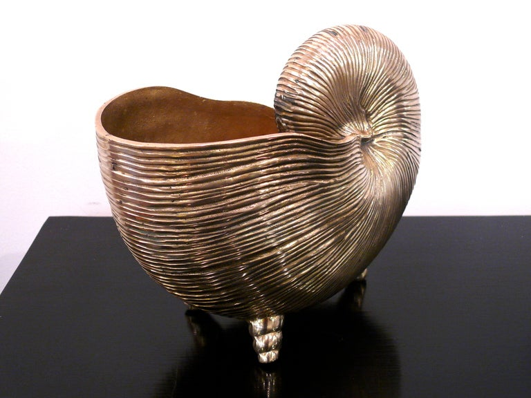 Nautilus Shell Brass Vase In Excellent Condition For Sale In New York, NY