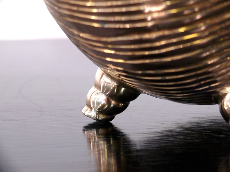 Nautilus Shell Brass Vase For Sale 3
