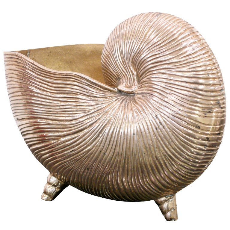Nautilus Shell Brass Vase For Sale