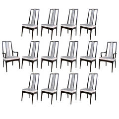 Set of 14 High Back Dining Chairs by John Stuart
