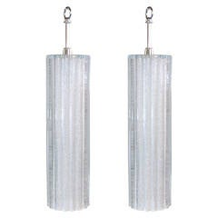 Pair of Scalloped Glass Pendant Lights