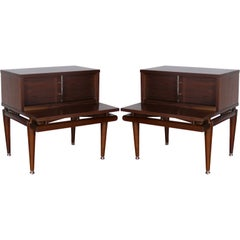 Pair of Tiered Walnut End Tables By Kent Coffey