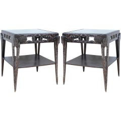Pair of Tall Cerused Mirrored End Tables