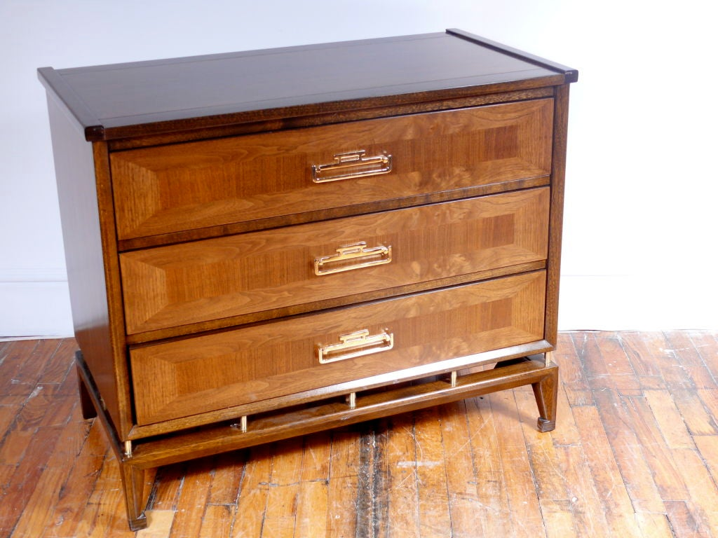 pair of inlaid mid century commodes at 1stdibs. Black Bedroom Furniture Sets. Home Design Ideas