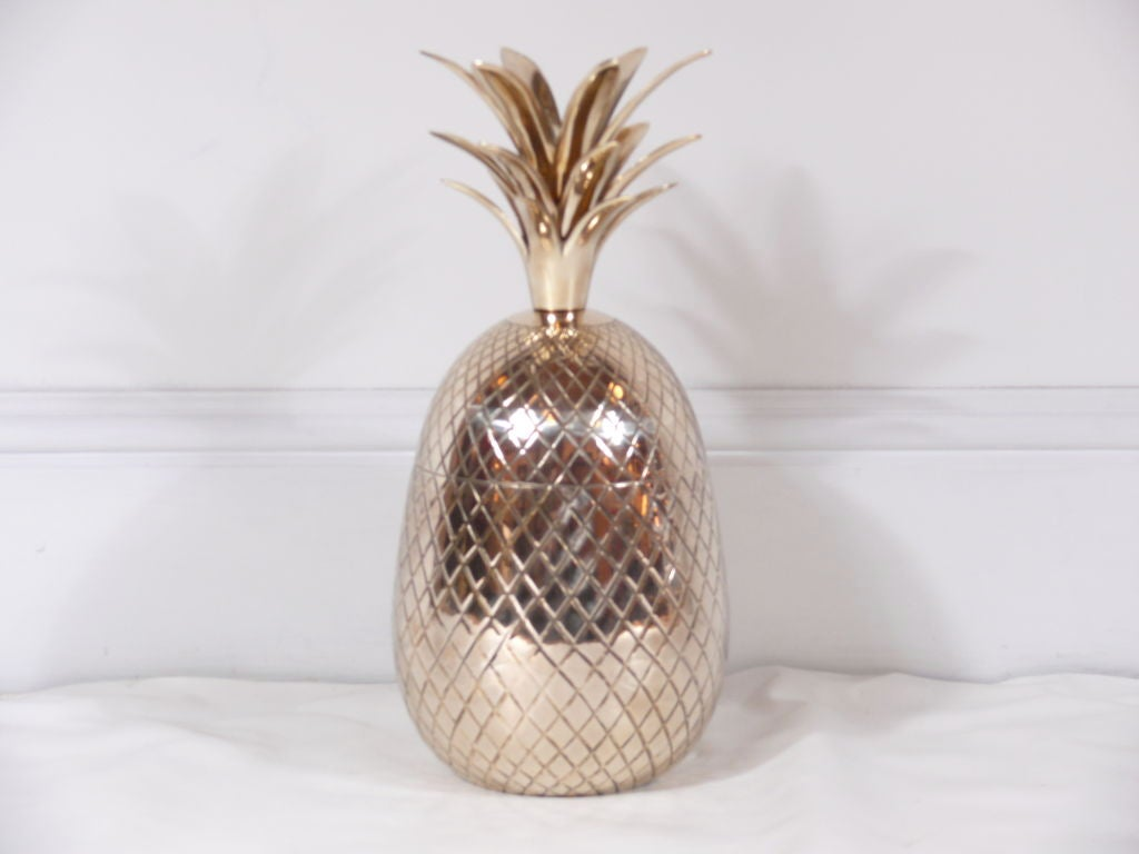 Brass Pineapple Shaped Covered Container