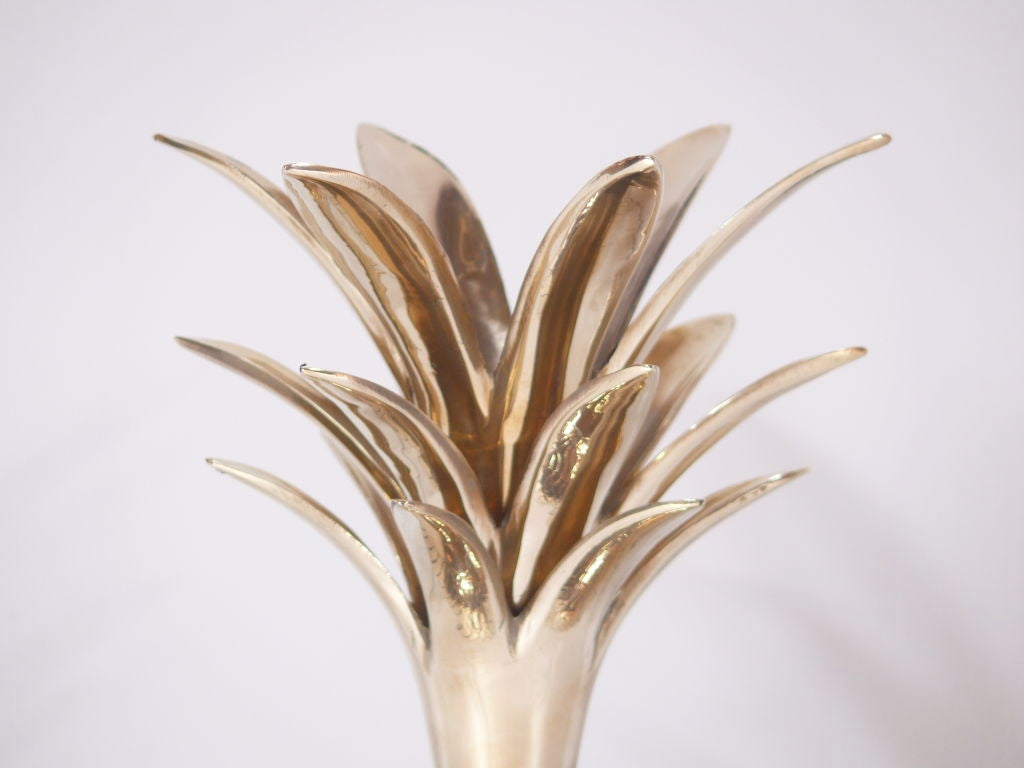 American Large Brass Pineapple Covered Container For Sale