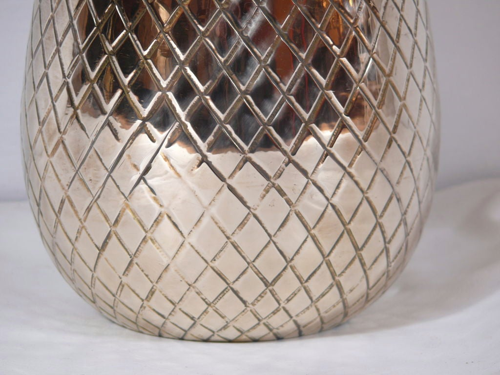 Mid-20th Century Large Brass Pineapple Covered Container For Sale