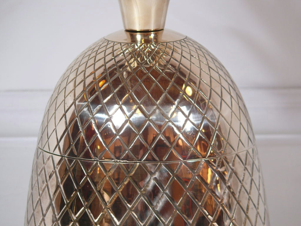 Large Brass Pineapple Covered Container For Sale 1