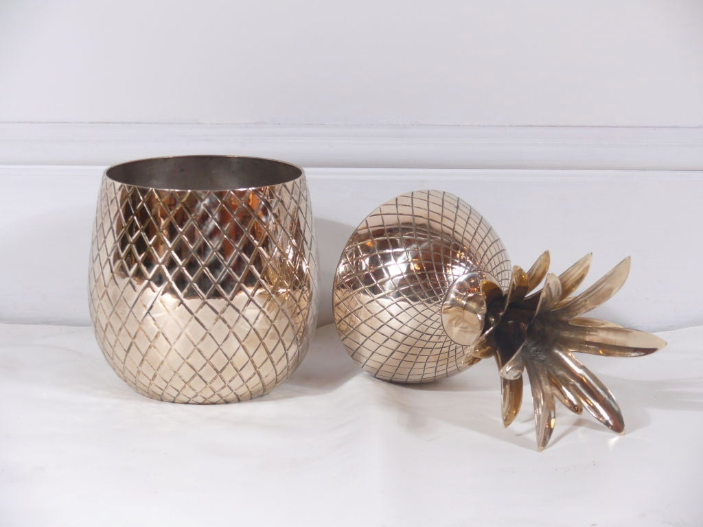 Large Brass Pineapple Covered Container For Sale 2