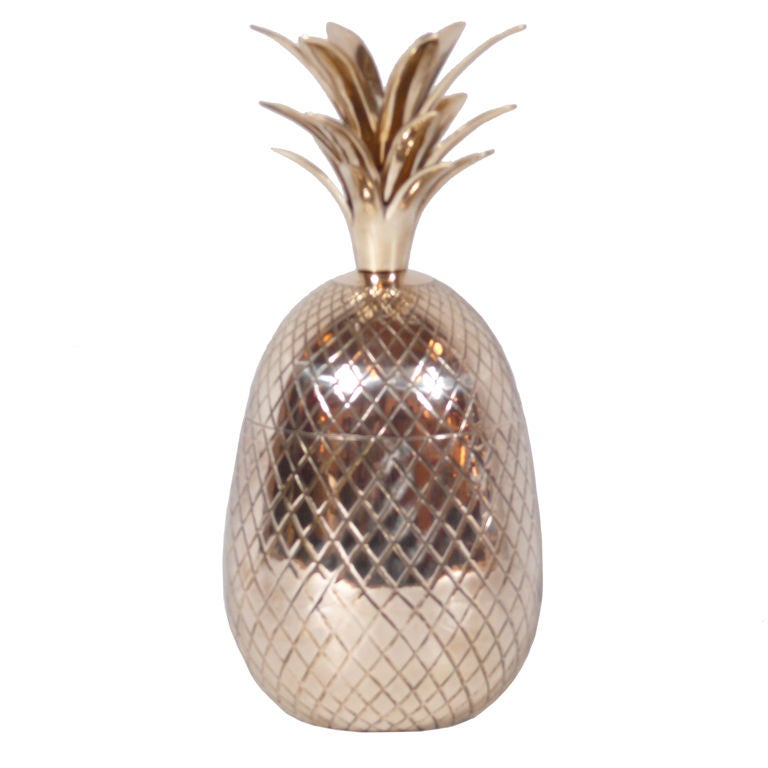 Large Brass Pineapple Covered Container For Sale