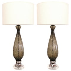 Pair of Italian Grey Glass, Lucite and Chrome Table Lamps