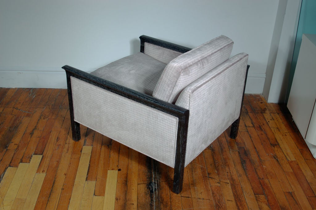 American Pair of Cerused and Velvet Chairs For Sale