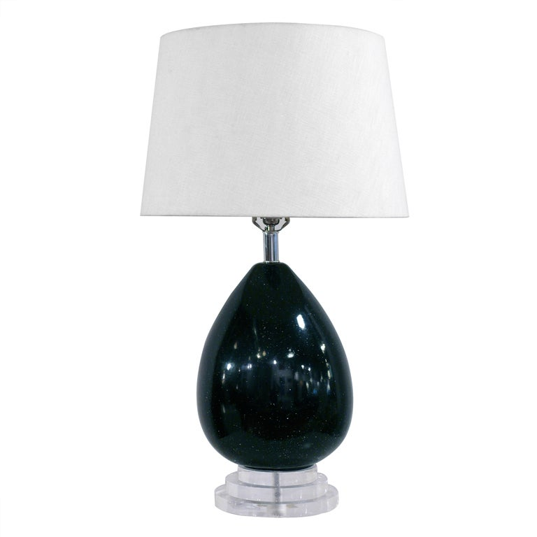 Black Speckle Glazed Ceramic and Lucite Lamp