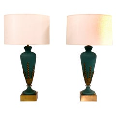 Pair of Blue Glass Lamps