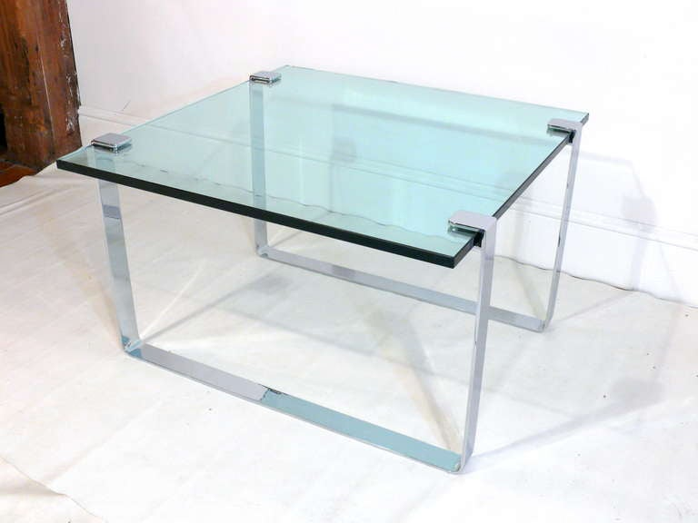 1960s Chrome and Glass Coffee Table 4