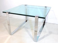 1960s Chrome and Glass Coffee Table