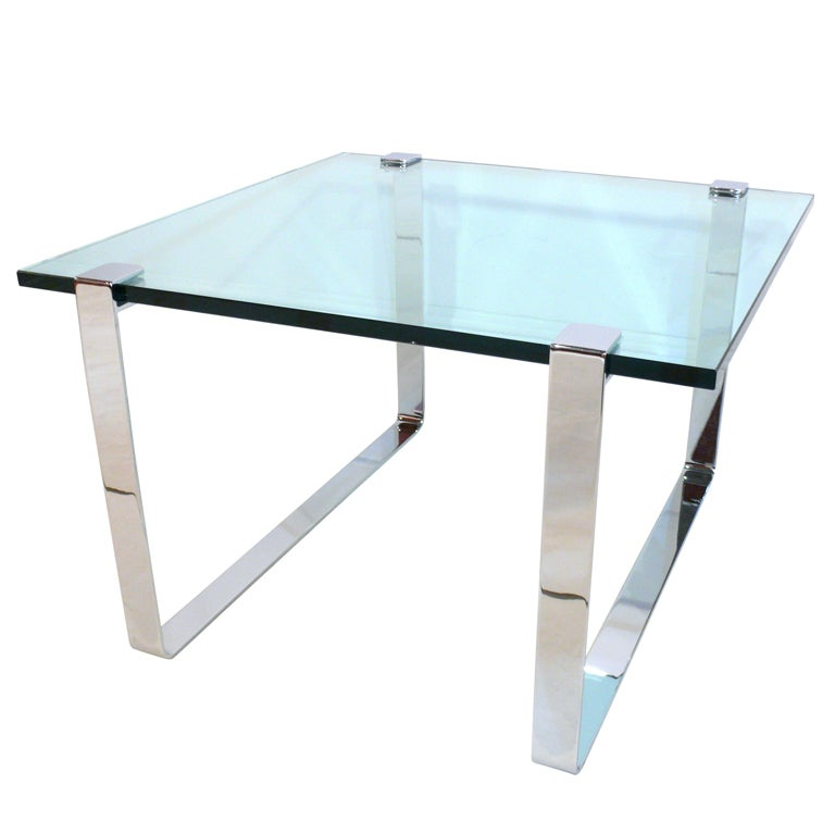 1960s Chrome and Glass Coffee Table 1