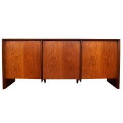 T.H. Robsjohn-Gibbings For Widdicomb Three-Door Walnut Credenza Cabinet