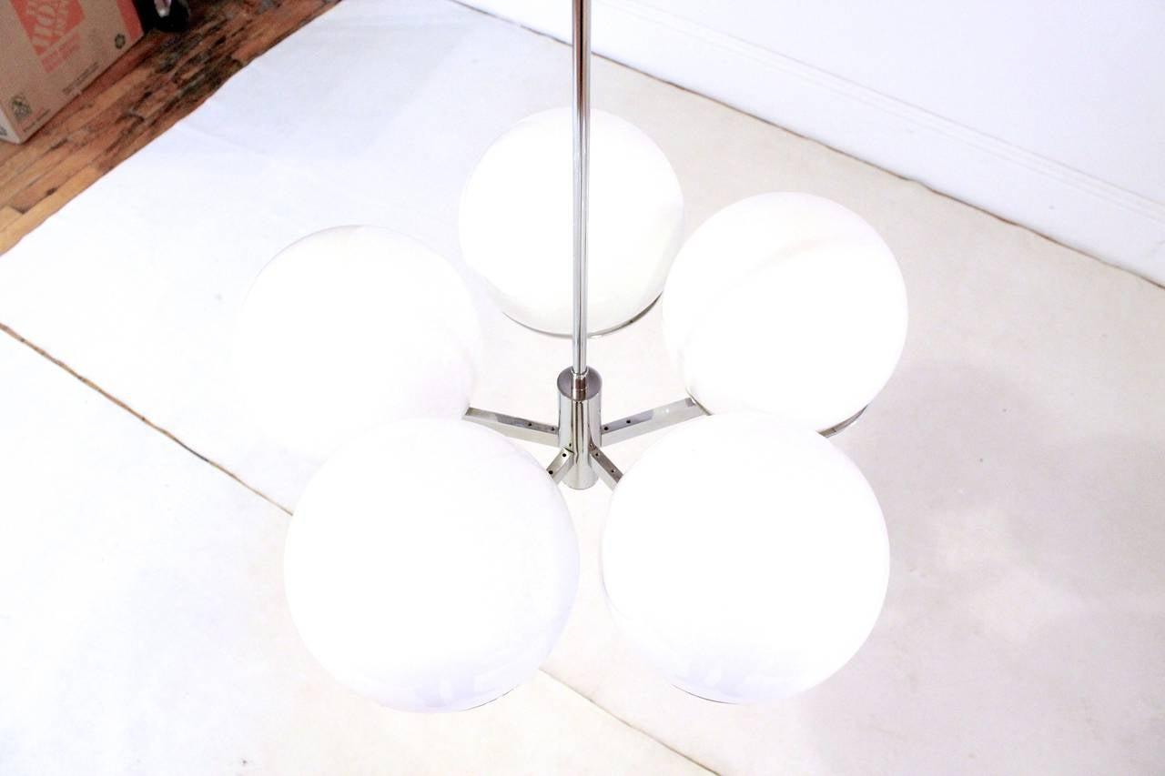 Mid-Century Modern Sciolari Five-Arm Chrome Sputnik Chandelier For Sale