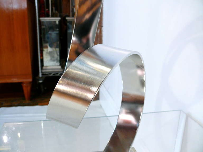 Chrome Dan Murphy Ribbon Sculpture For Sale