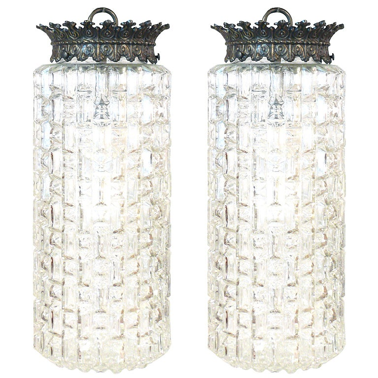 Pair of Glass Pendant Lights For Sale