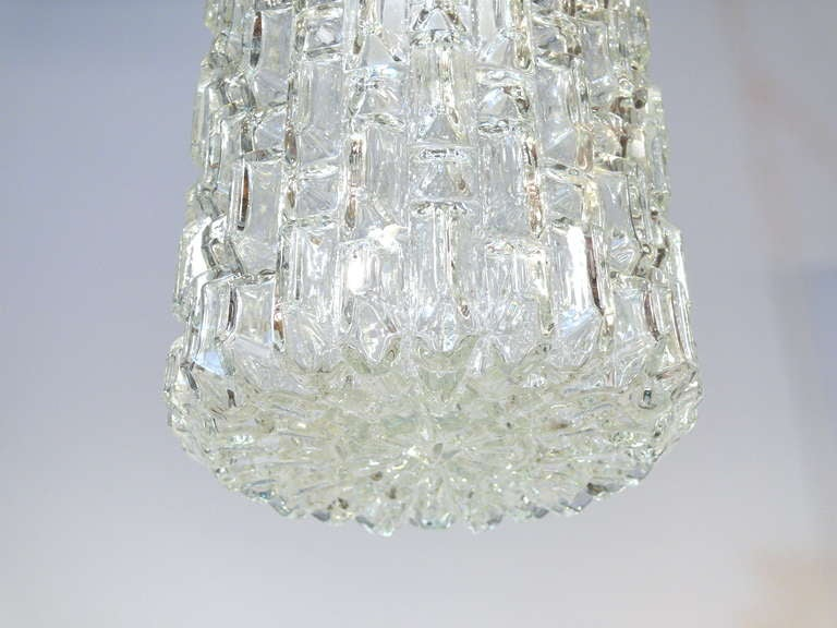 Mid-20th Century Pair of Glass Pendant Lights For Sale