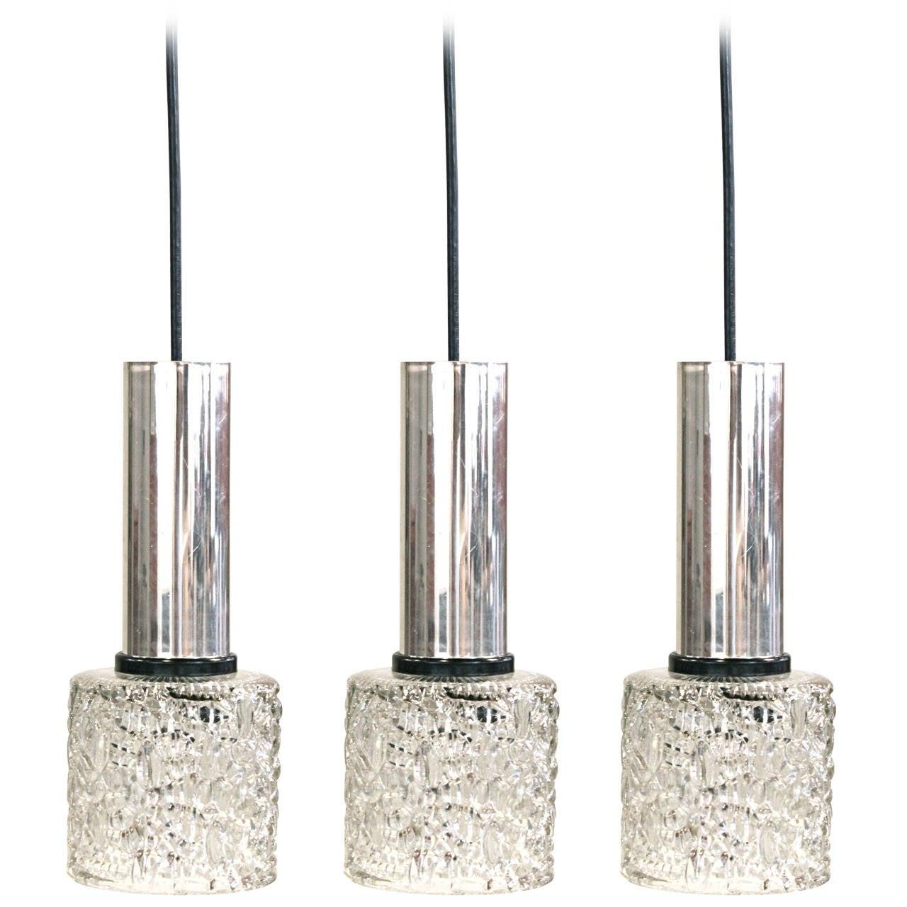Set Of Three Crackled Glass Pendant Lights