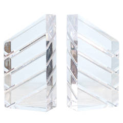Pair of Acrylic Sculptural Bookends Signed Astrolite