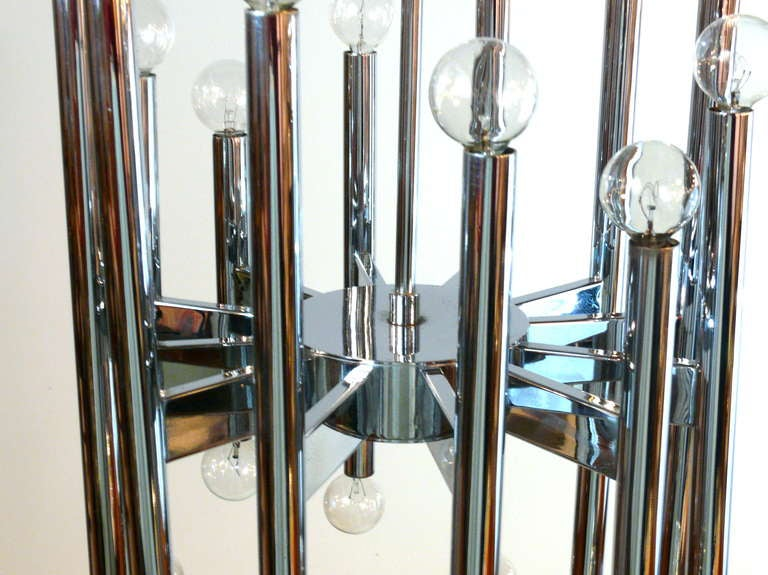 20th Century Twenty-Two-Light Scolari Chrome Rod Chandelier For Sale
