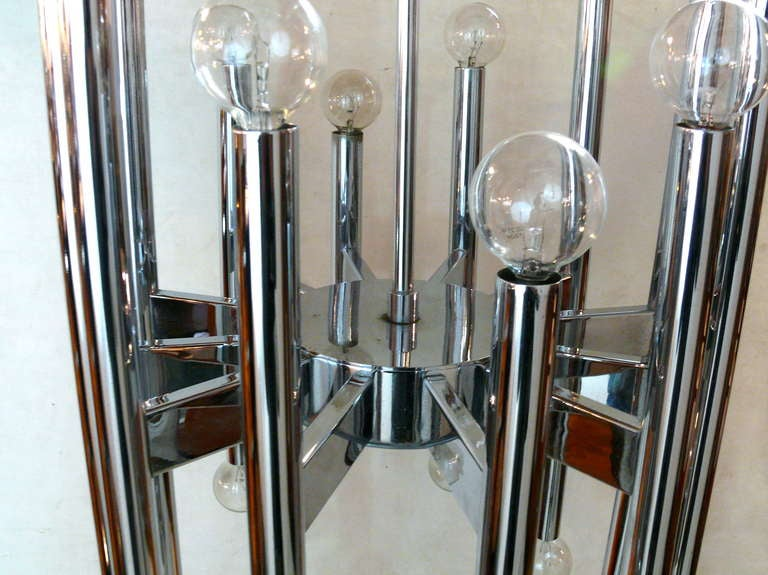Twenty-Two-Light Scolari Chrome Rod Chandelier For Sale 3