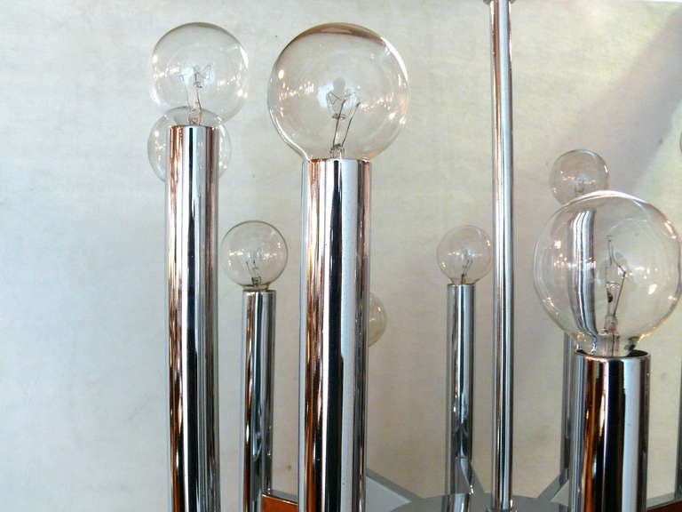 Mid-Century Modern Twenty Four Light Sciolari Chrome Rod Chandelier For Sale