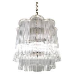 Scalloped Lucite and Glass Rod Chandelier by Gaetano Scolari