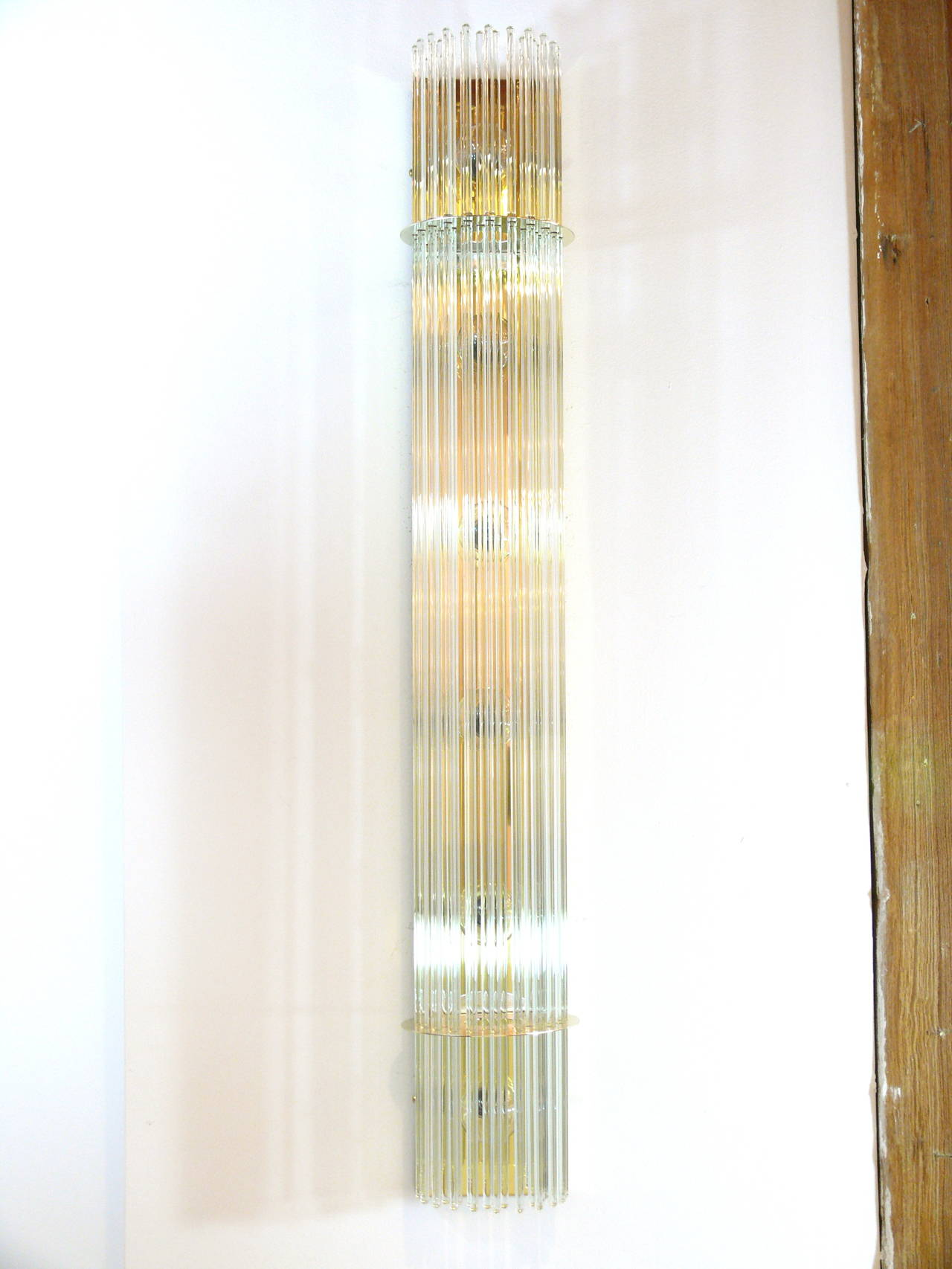 Tall Glass Wall Sconces : Pair of Tall Brass and Glass Rod Sconces at 1stdibs