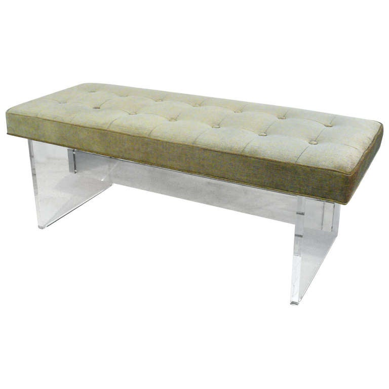 Lucite And Chrome Tufted Bench At 1stdibs