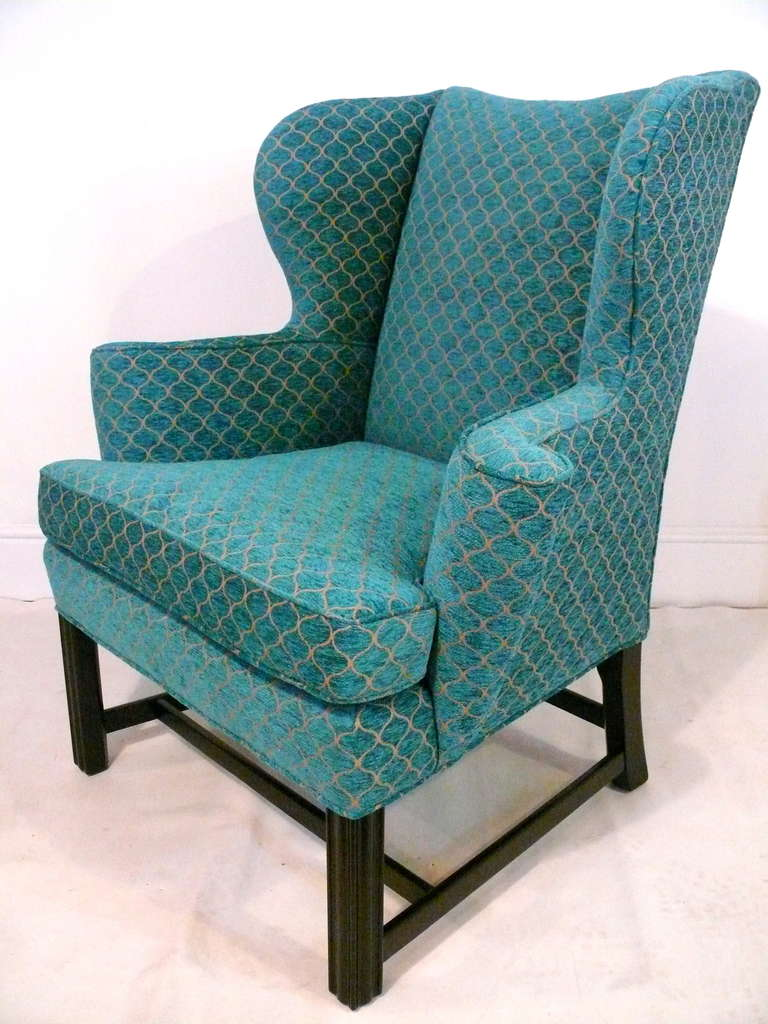 Pair of Curvaceous Wingback Chairs For Sale 1