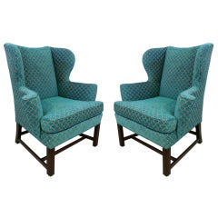 Pair of Curvy Wing Back Armchairs