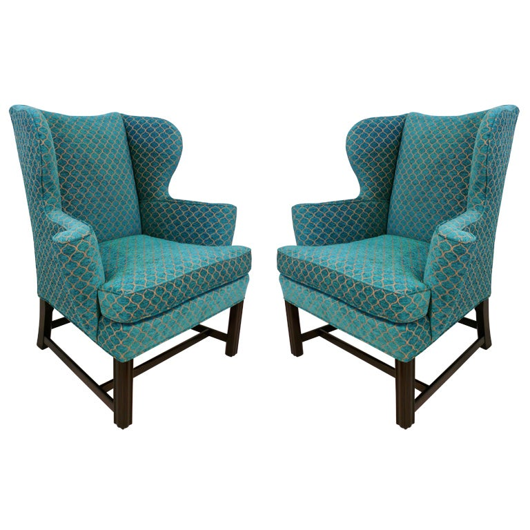 Pair of Curvaceous Wingback Chairs For Sale