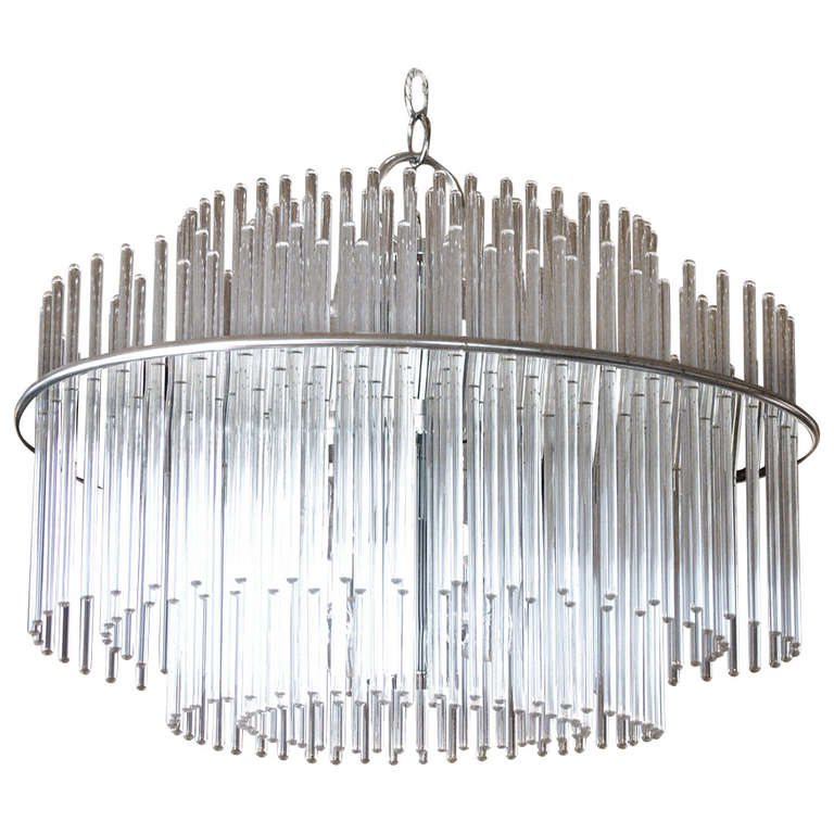 Glass rod and chrome scolari chandelier at 1stdibs glass rod and chrome scolari chandelier for sale audiocablefo